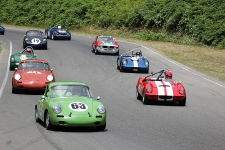 Long time VRCBC member Tim Pickstone in his beautiful 1963 Porsche 356C leads the pack in one of the Historic Small Bore races at the Pacific Northwest Historics. - Brent Martin photo