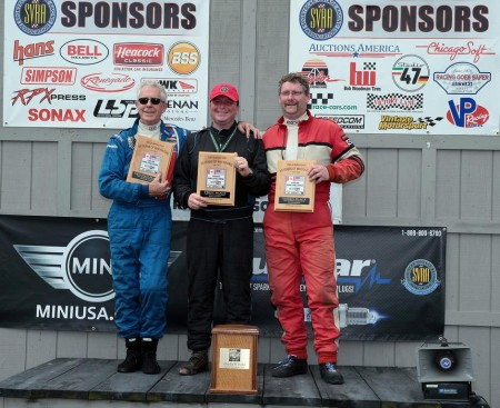 The M3 Class Podium with the third place man, our boy Geoff on the right, runner-up Richard Paterson on the left and the winner, UK Mini-legend Nick Swift (of Swiftune fame) in the centre. - photo courtesy Can-Am Mini Challenge