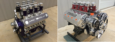 Two famous V8's: Gurney Weslake (left) and Weslake Chevy (right) are available.