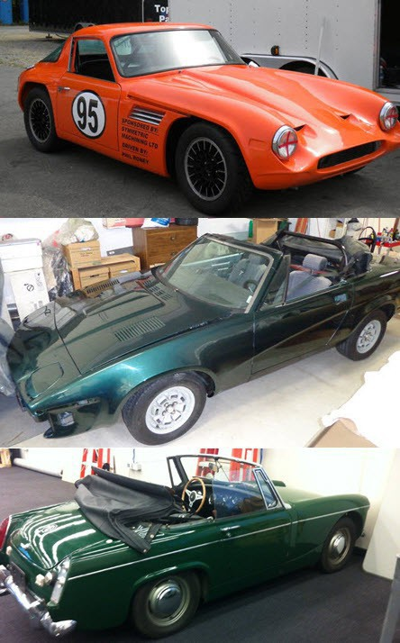 Top to Bottom: 1969 TVR Vixen - ready to go racing now!; 1980 Triumph TR8 and 1968 MG Midget - both great potential Vintage racers.