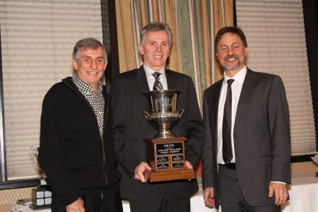 The 2016 REVS Champion, Doug Floer proudly displays his trophy with VRCBC Vice President Paul Haym (L) and President Tedd McHenry (R). - Gerry Frechette photo
