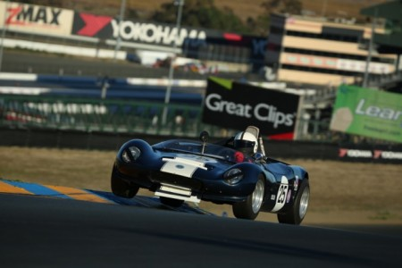 Ian Wood gets some air at Sonoma Raceway with his beautiful little 1965 Fournier Marcadier Barquette sports racer.