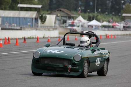John Elliott and his classic British Racing Green 1969 MGB are just one of the combos entered in this weekend's Vintage races at Mission Raceway Road Course. -  Brent Martin photo