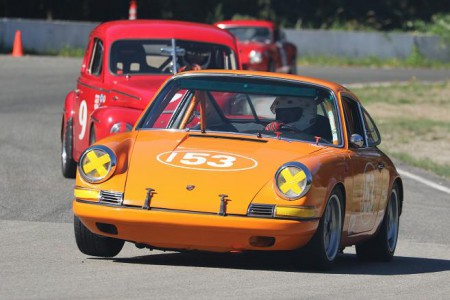 Peter Valkenburg lifts the inside front wheel of his 1969 Porsche 911 during this year's BCHMR. Peter is entered for the season's final races at Mission. - Brent Martin photo