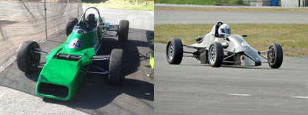 Two Van Diemen Formula Fords for sale. A RF82 on the left and a RF88 on the right.