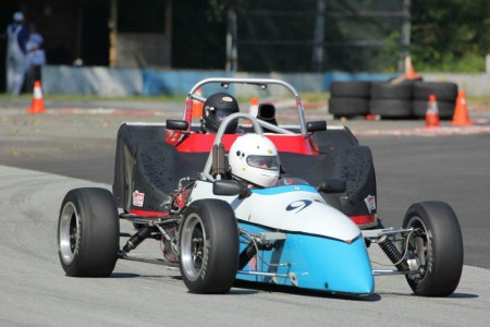 VRCBC president Tedd McHenry (Xpit F4) holds off (ahem) newly-elected SCCBC presdient, Ray Stec (Royale RP37) during the July 2014 race weekend at Mission. - Brent Martin photo
