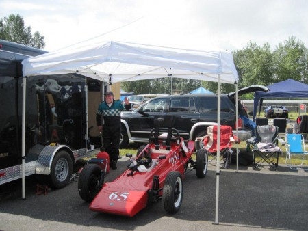Tom Sproule and his 1969 Merilyn Mk1 Formula Vee are apparently already set up in the Mission Paddock waiting patiently for the 2015 Season Race Schedule to be confirmed. - Brent Martin photo