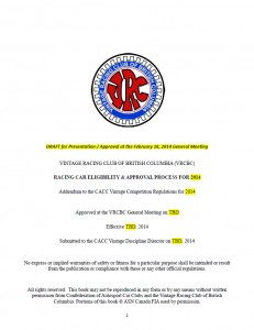 VRCBC Eligibility and Approval Process for 2014