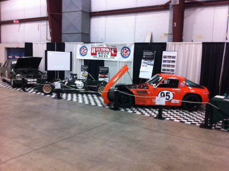 The VRCBC Booth at the 2014 BC Classic & Custom Car Show featured (L to R) Alan McColl's Cortina and Tiga Formula Ford, and Phil Roney's TVR Vixen. - VRCBC photo
