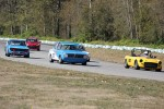 Al Harvey (MGB), Leigh Anderson (BMW 1600), Pierce Isaacs (MGB) (hidden), Paul Haym (Datsun 510), Geoff Tupholme (Mini) (hidden) - Brent Martin photo