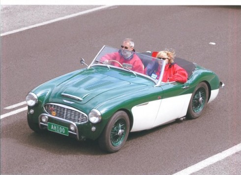 Les and Zonda Mathieson in their 1956 Austin Healey 100/6. (We resisted the temptation to invert the photo because they were driving 'Down Under'!) - Les Mathieson photo