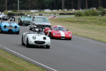 The VRCBC's Karlo Flores leads a group in 'Bonnie', his 1959 Austin Healey Bugeye Sprite - Brent Martin photo