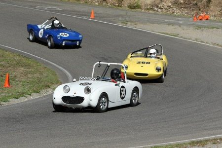 Three of the VRCBC's carve through one of Pacific Raceway's corners during SOVREN's Fall Finale event. Karlo Flores (1959 Austin Healey 'Bugeye' Sprite), Steve Clark (1959 Elva Courier) and Phil Pidcock (1965 Triumph Spitfire) pushing hard. Brent Martin photo