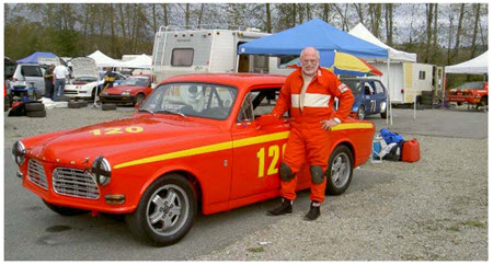 Jim Latham and his favourite Vintage racing car 'Greta', a 1968 Volvo 122S - VRCBC photo