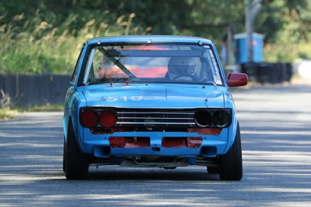 Coming right at you! VRCBC Vice President Paul Haym in his classic 1969 Datsun 510 - Brent Martin photo