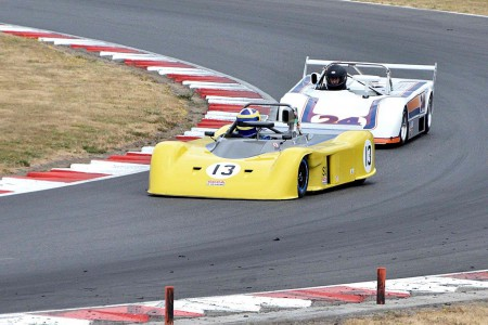 The VRCBC's own Tony Carruthers in his Swift DB2 leads a Lola 497/C - Jim Moody photo